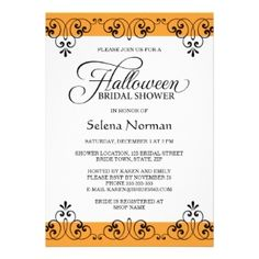 A fun selection of Halloween Bridal Shower Invitations.  Find everything from cute and elegant all the way to dark and lovely Gothic style.
