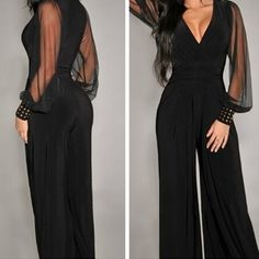 Women Fashion V Neck Rivet Embellished Cuffs Long Organza Patchwork Sleeves Long Pants Jumpsuit