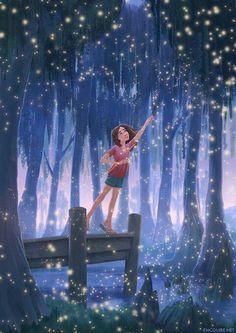 Erin McGuire: Time of the Fireflies Illustration Nocturne, Night Illustration, Arte Indie, Alone Art, Art Mignon, Digital Art Girl, Anime Art Girl, Aesthetic Art, Cartoon Art