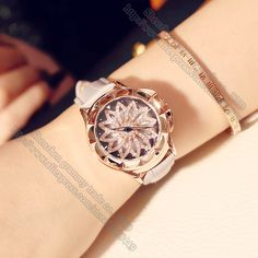 Clock Quartz-watch Leather Strap Ladies Watch your luck is on the turn Carved Rose gold shell Watches Women Gift Accessories