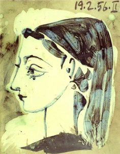"""Profile of Jacqueline"", Oil by Pablo Picasso (1881-1973, Spain)"