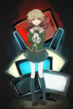 credits for the artist ~ Danganronpa Chihiro, Danganronpa Game, Danganronpa Trigger Happy Havoc, Danganronpa Characters, Video Game Art, Cute Characters, Mobile Wallpaper, Anime Art, Manga Anime