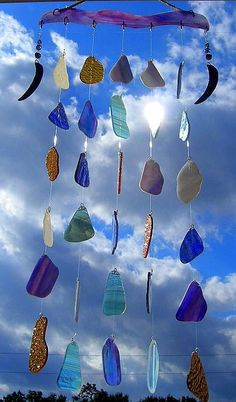 Enchanted Evening Wind Chimes Stained Glass by GlassofManyColors