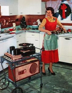 Retro holiday dinner. Too funny...I have the same cart...just need the giant speaker