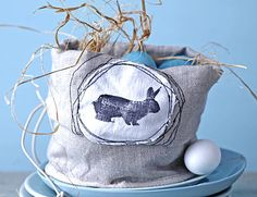 linen bag stitched with bunny