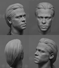 Brad Pitt from Interview from Vampire( th Head sculpt), Vimal Kerketta Brad Pitt, Sculpture Head, Horse Sculpture, 3d Portrait, Head Anatomy, Sculpting Tutorials, Interview With The Vampire, Digital Sculpting, Sketchbook Pages