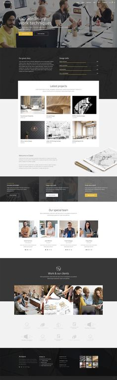 WordPress theme Ambient comes with 12 contemporary homepages and a large set of ready-made inner pages you can customize to your needs. Make your website today! Woodworking Tutorials, Woodworking Techniques, Modern Architecture Design, Concept Architecture, Web Design, Layout Design, Office Interior Design, Identity Design, Wordpress Theme