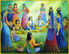 Looks like Krishna is up to one of His transcendental tricks here. Arte Krishna, Krishna Lila, Radha Krishna Photo, Radha Krishna Love, Krishna Radha, Radha Rani, Lord Krishna Wallpapers, Radha Krishna Wallpaper, Lord Krishna Images