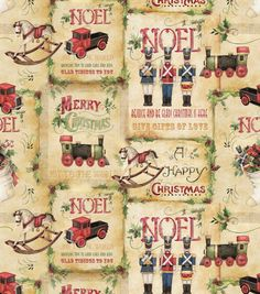 Susan Winget Holiday Insporations Fabric Vintage Toy Shop Patch