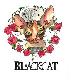 The blackcat game by @alejandravvss  #cat #game #blackjack #poker #aleksandrav #watercolor #ink