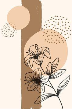 Acrylic Painting Canvas, Diy Canvas Art, Brown Art, Brown Beige, Minimalist Painting, Abstract Shapes, Diy Art, Boho Decor, Line Art Flowers