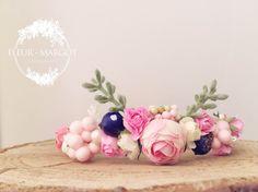 Tieback bébé couronne rose fruitée nature ,photoprop de la boutique FleursMargot sur Etsy