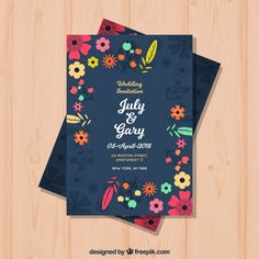 Wedding invitation with flowers in flat style. Download thousands of free vectors on Freepik, the finder with more than a million free graphic resources