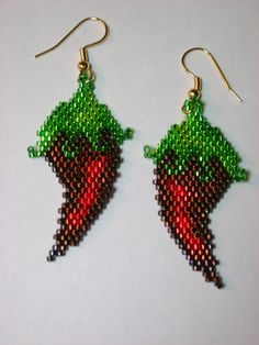 Hand Beaded Red Chili Peppers earrings