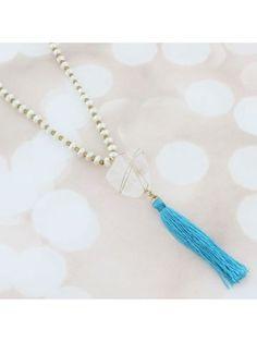 Quartz and Turquoise Tassel Pendant Beaded Necklace #AN0726-GTQPL | eWAM