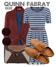 """""""Glee"""" by wearwhatyouwatch ❤ liked on Polyvore featuring A Wear, Therapy, Dorothy Perkins, Ollio, stripes, top handle bags, loafers, blazers, stripe dresses and quinn fabray"""