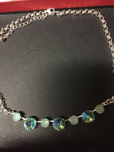 Aqua pacific opal Swarovski necklace by PrettyInCrystal on Etsy