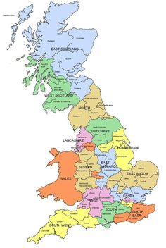 Map of Regions and counties of England, Wales, Scotland: