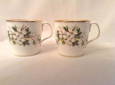 Royal Albert Bone China England White Dogwood 2 Coffee Cups Mugs in Pottery & Glass, Pottery & China, China & Dinnerware, Royal Albert   eBay