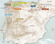 El Camino De Santiago! A 550 mile backpacking trek through Spain. It's totally crazy, but this I want to walk. I told my little brother TJ that I wanted to take him to Spain just a few months before he died in 2005. I will scatter his remaining ashes on this trail! Beautiful.     http://www.troop845.net/storage/rutas_camino.jpg%3F__SQUARESPACE_CACHEVERSION%3D1274547123632
