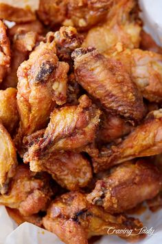 The best chicken wings! These baked chicken wings are extra crispy on the outside and very juicy inside. They are like deep-fried wings, only without a mess and added calories. Oh, and they only take 30 minutes to bake. Crispy Chicken Wings, Crispy Baked Wings, Oven Baked Wings, Deep Fry Chicken Wings, Chicken Breasts, Brine For Chicken Wings, Chinese Fried Chicken Wings, Deep Fry Wings, Best Baked Chicken Wings