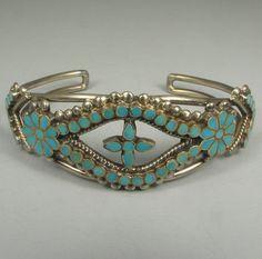 Fine Zuni MATTHEW & ROEMARY LIDASE Turquoise Inlay Bracelet