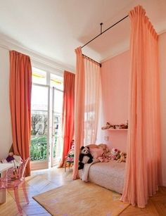 Ceiling curtains for bed
