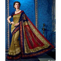 Designer Multicolor Printed With Border Baghalpuri Silk Saree-RKNK9502B(FH-RKNK9501)