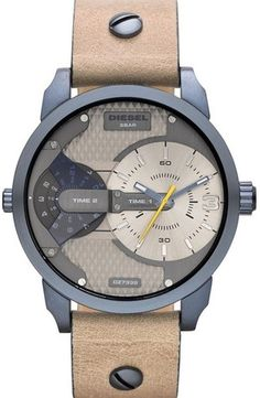 'Mini Daddy' Multi Movement Leather Strap Watch, 46mm