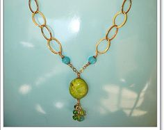 necklace 14k Gold plated with Chalk Turquoise semi precious stone
