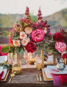 Inspiration mariage rouge et rose : la décoration