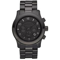 Michael Kors Watches Womens Black Unisex Sleek Black Metal Bracelet... ($280) ❤ liked on Polyvore featuring jewelry, watches, accessories, bracelets, fillers, black metal jewelry, black wrist watch, chrono watches, metal bracelet and michael kors jewelry