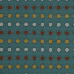 Orange Turquoise Geometric Upholstery Fabric  by PopDecorFabrics