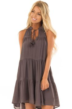 eace4ae29c735 Midnight Grey Tiered Flowy Dress with Tie Detail. Lime Lush Boutique