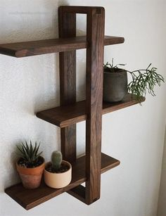 Modern Wall Shelf, Solid Walnut for Hanging Plants, Books, Photos. Mid-century/Scandinavian Inspired Modern Wall Shelf Solid Walnut for Hanging Plants Books image 1 # DIY Home Decor frames Plant Shelves, Wall Shelves, Corner Shelves, Wood Shelf, Small Wall Shelf, Wooden Shelves, Mur Diy, Diy Wand, Modern Shelving