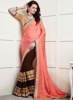 Coffee brown and peach saree with blouse. Fabric - Viscose and chinon fabric. Work - Kasab zari satin patta with exclusive hand made border. Paired with the matching blouse piece. Party Wear Sarees Online, Wedding Sarees Online, Party Sarees, Indian Sarees Online, Saree Wedding, Wedding Wear, Buy Designer Sarees Online, Latest Designer Sarees, Buy Sarees Online