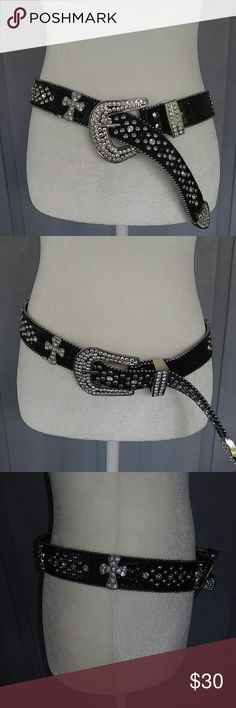 Beautiful crystal rhinestone cross belt Studded with metal studs and very sparkly crystals and crosses unknown Accessories Belts