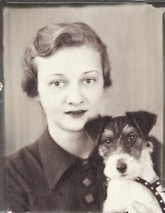 Vintage Photo Booth image of a lady and dog
