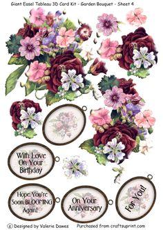 >> garden bouquet kit - decoupage card embelishments
