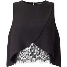 Miss Selfridge Black Lace Insert Shell Blouse (1,720 THB) ❤ liked on Polyvore featuring tops, blouses, black, lace inset top, shell tops, miss selfridge, lace insert top and shell blouse