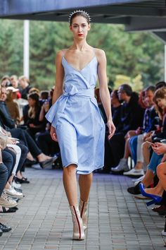 IMRECZEOVA SS18 striped wrap dress with strapes Wrap Dress, Shoulder Dress, Runway, 60 Degrees, Formal Dresses, Style, Fashion, Walkway, Cat Walk