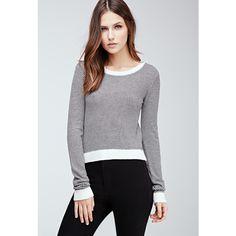 Forever 21 Women's  Cropped Stripe Sweater ($9.99) ❤ liked on Polyvore featuring tops, sweaters, print sweater, slim fit sweaters, stripe top, slimming tops and forever 21 sweaters