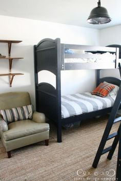 bunk-bed-and-chair, shelves