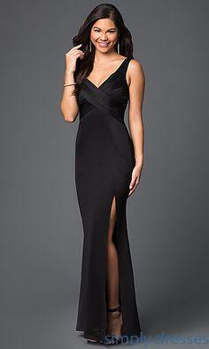 Black V Neck Evening Dress with Front Slit by Emerald Sundae