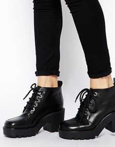 e51cda058bf ASOS ENTITY Leather Lace Up Ankle Boots at asos.com