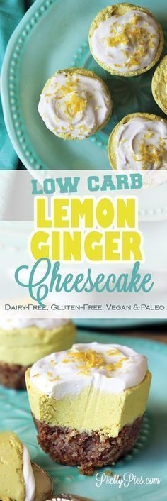 Bright, zingy and deliciously dairy-free! This Low-Carb Lemon Ginger 'Cheesecake' is free from gluten, sugar, and processed foods for a creamy-dreamy *healthy* indulgence. #vegan #paleo #keto