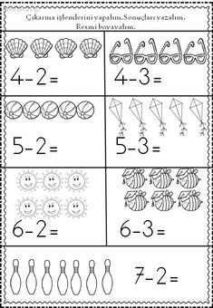 Çıkarma islemi 3rd Grade Math Worksheets, Kindergarten Math Activities, Preschool Writing, Montessori Math, First Grade Math, Preschool Learning, Kindergarten Worksheets, Math Exercises, Math For Kids