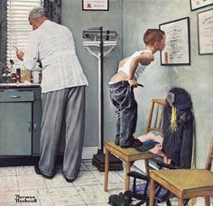 #132 ❘ Avant la piqure pour la Journée internationale de linfirmière ❘ 1958 ❘ Norman Rockwell (1894 - 1978)