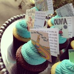 Children's book themed baby shower - cupcake toppers