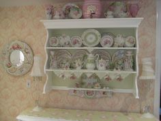 love the soft green in the inside of the cabinet Shabby Chic Interiors, Shabby Chic Decor, Display Shelves, Shelving, Tea Cup Display, Bookshelves, Bookcase, China Display, Lace Decor